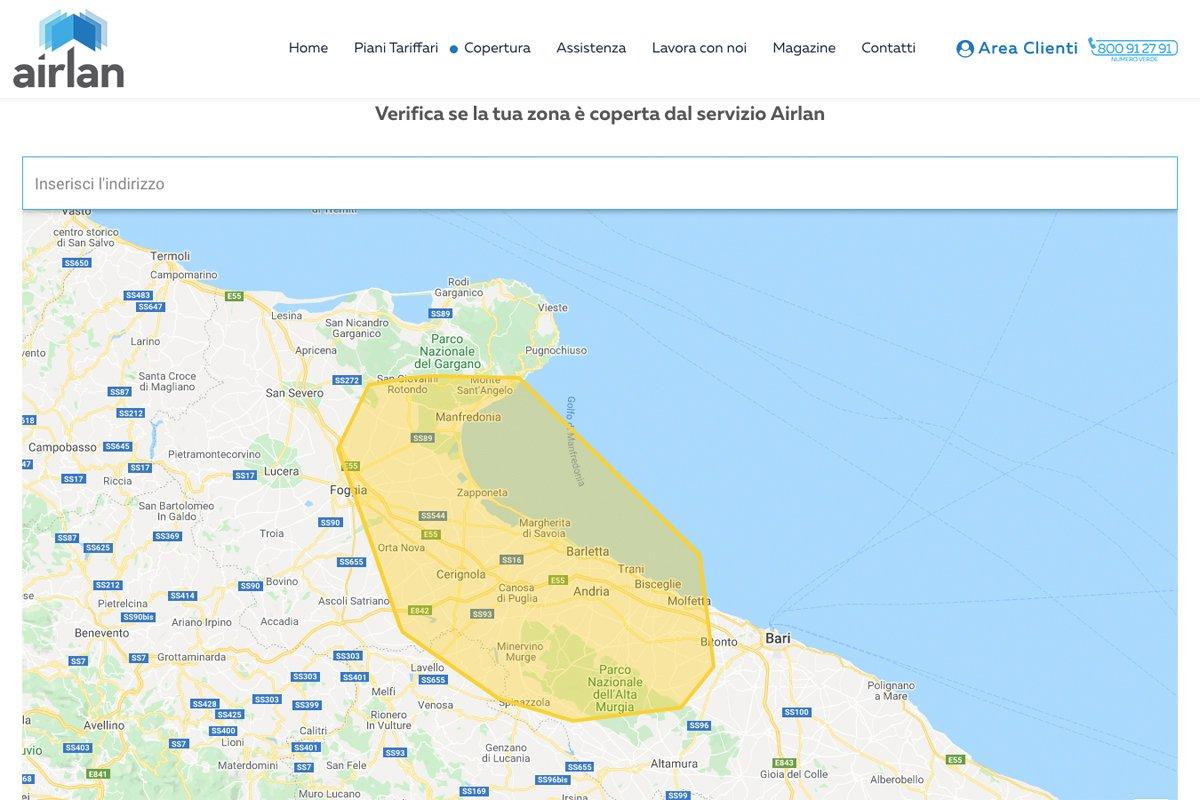 Connessione internet con Airlan verifica copertura